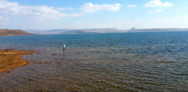 Futile attempt at flyfishing for yellows in the vastness of Sterkfontein