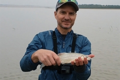 Martin caught this little yellow fish in the cold and the rain at The Retreat self catering accommodation, Vaal Dam.