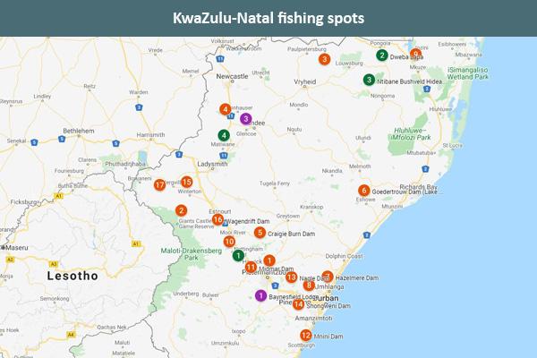 KwaZulu-Natal fishing spots map