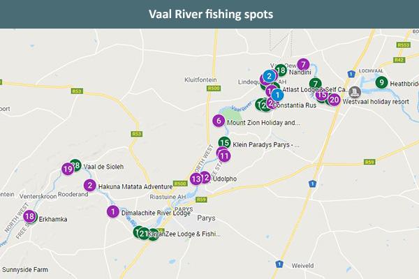 Vaal River fishing spots map